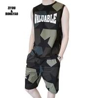 2020 summer new mens fashion camouflage vest 2 pcs style trend t shirt short sleeve shorts sports leisure suit comfortable