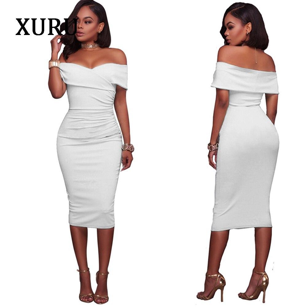 XURU Women Off Shoulder Dress Slash Neck Strapless Blue White Black Pencil Dresses Evening Party Sexy Bodycon Dress Female