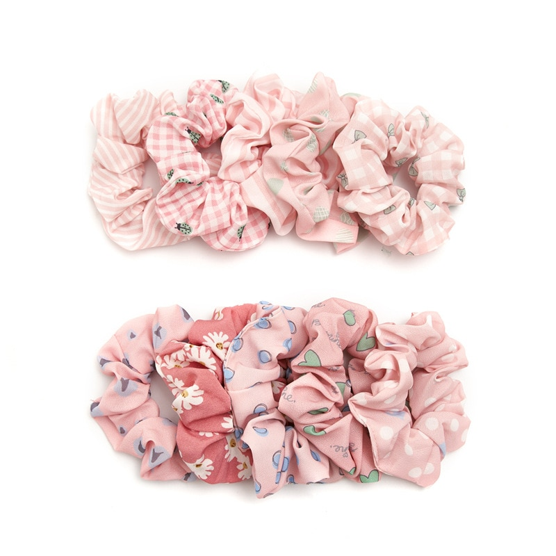 2020 New Designs Pink Scrunches Set 10pcs Wholesale Girls Hair Schrunchies Pack Cute Hair Rope For Ponytail Daily Hairbands