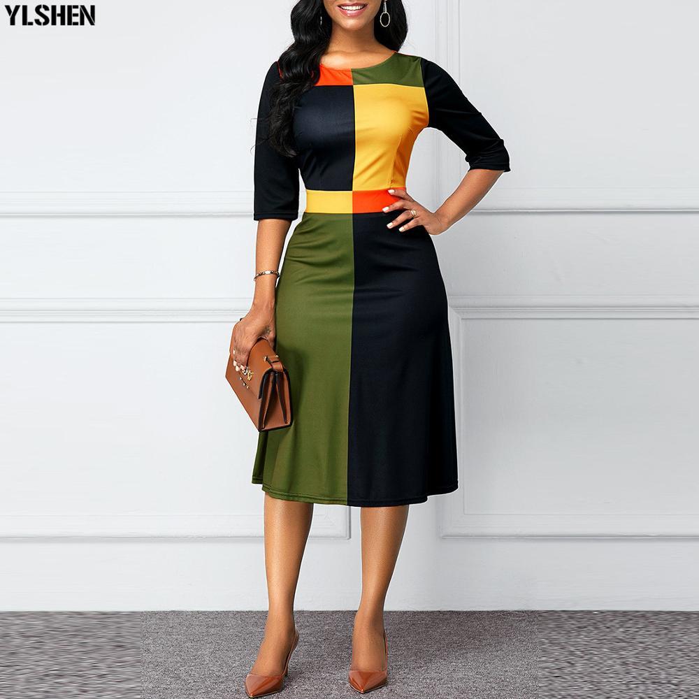 Vestidos de impressão africano para as mulheres vestido dashiki geométrica retalhos roupas africanas plus size retro áfrica bodycon natal robe