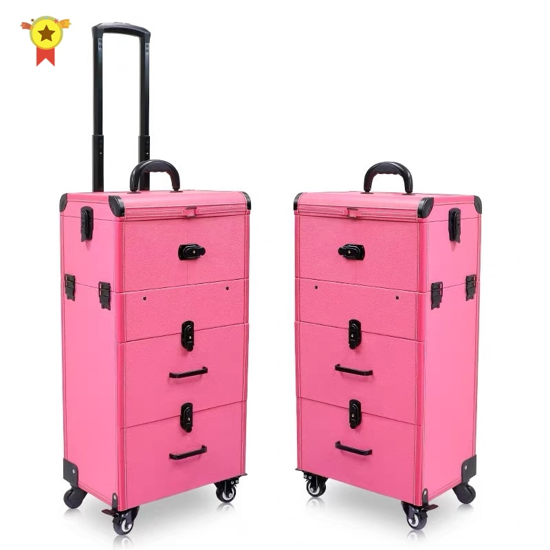 New Professional cosmetic case Box Nail tattoo Rolling luggage bag makeup case on wheels multi-function Beauty trolley suitcase