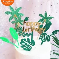 1 set hot sale green leaf happy birthday acrylic cake topper jungle safari party supplies kids favors cake decorating