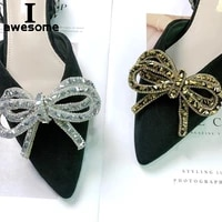 rhinestone shining bow bow knot bridal wedding party shoes accessories for high heels flats slipper shoe decorations flower