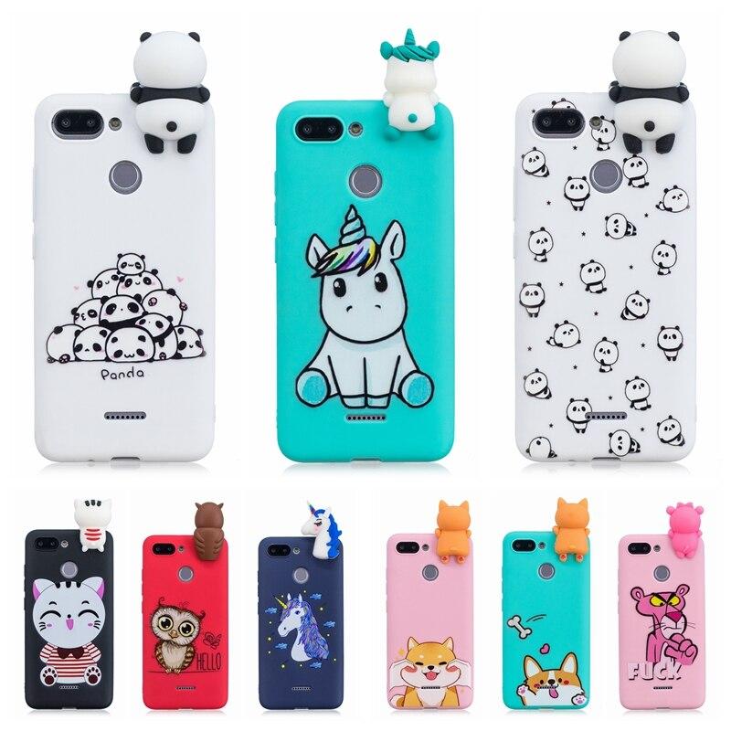 Funda etui Xiomi Redmi 6 para Xiaomi Redmi 6 3D Panda lindo unicornio Funda de teléfono de silicona para Xiaomi Redmi 6