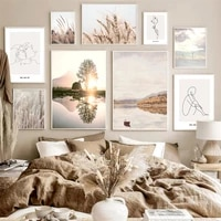 nordic nature scenery grass canvas painting abstract line figure wall art picture poster and print modern home living room decor