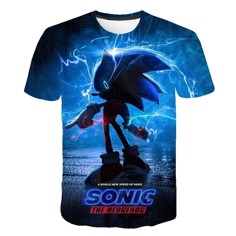 2021 Summer Children Short Sleeve T-Shirts Kids Cartoon Supersonic Sonic Print Boys Girl Tops Tee Super Sonic T Shirts Baby Boys glamglow gravity sonic blue t