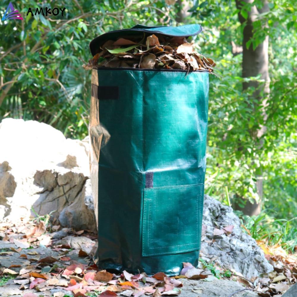 AMKOY Organic Waste Kitchen Garden Yard Compost Bag Environmental PE Cloth Planter Kitchen Waste Disposal Organic Compost Bag