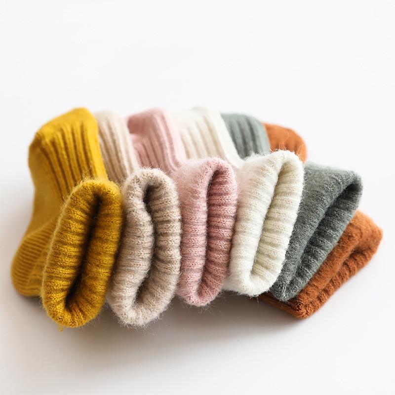 Утепленные детские носки, осенне-зимние хлопковые полосатые носки, теплые детские носки для малышей и мальчиков, дешевые носки для средней ...