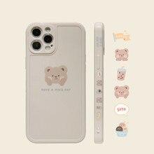 Funda de teléfono Retro con diseño de oso de té y leche para iPhone, carcasa bonita de estilo japonés para modelos 13, 12, 11 Pro Max, XS MAX, XR, 7, 8 Plus, X, 7Plus