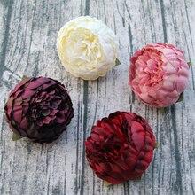 Pivoines artificielles en soie 20/100 qualité   Têtes de fleurs 8cm, fleur de mariage vente en gros pour décoration murale de gâteau arrière-plan