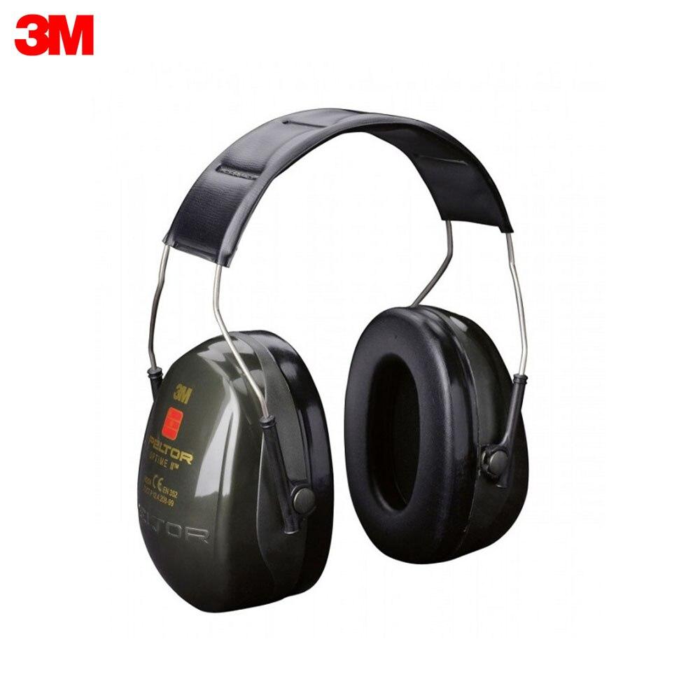 Orejeras de ruido de 3M, H520A-407-GQ, auriculares antiruido con PELTOR Optime II estándar, banda para la cabeza, protección de seguridad en el trabajo, suministros de seguridad, equipo de Ruido H520A 407 GQ