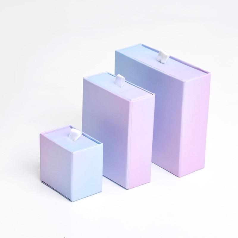 Подарочный набор для ювелирных изделий из картонного ящика, 12 штук, кольца, браслеты, серьги, подарочные упаковочные коробки с черной губкой