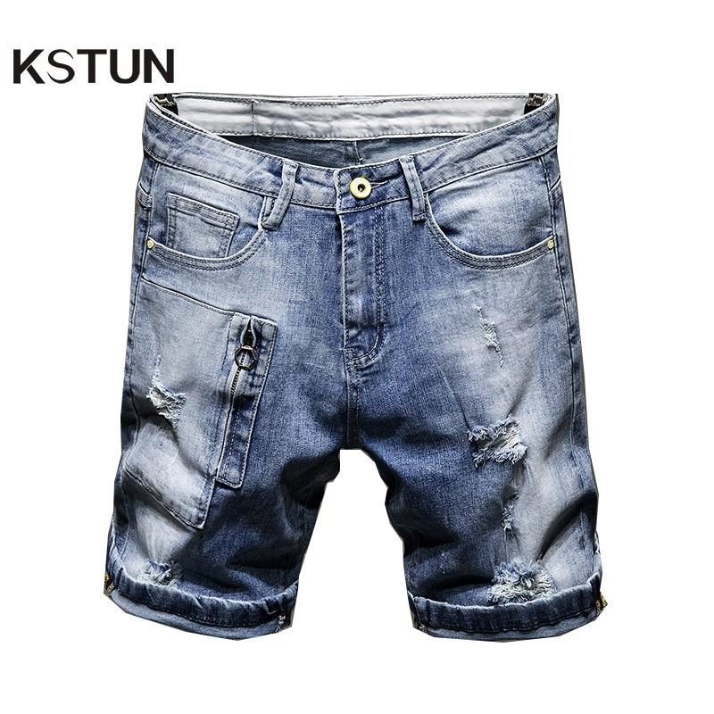 Pantalones vaqueros de verano para hombre, pantalones cortos rectos elásticos de algodón rasgado roto con agujeros, cremalleras falsas de moda azul claro Hip Hop desgastadas