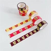 5m cartoon cute glasses bear washi tape photo envelope sealing sticker kawaii color masking diy decorative tape kpop stationery