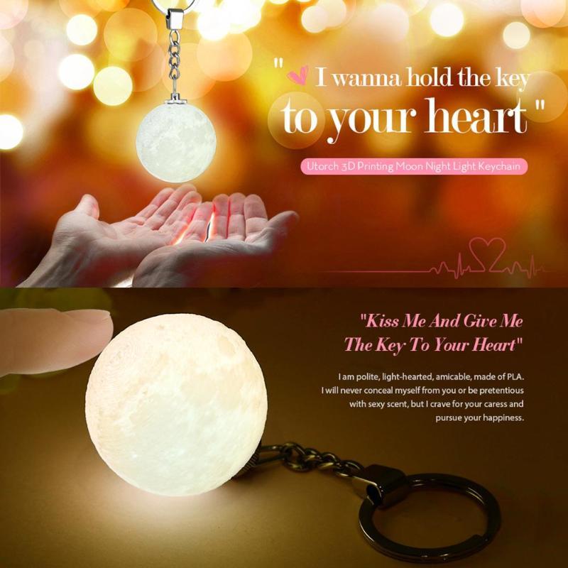 Portable Mini 3D Print Moon Light Creative Moon Night Lamp Bag Key Pendant Home Decoration Planet Night Light Keychain New