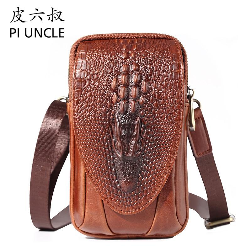 PI UNCLE Brand Alligator Genuine Leather Casual 6 Cell Phone Pouch Case Waist Belt Cross Fanny Pack Men Shoulder Messenger Bag
