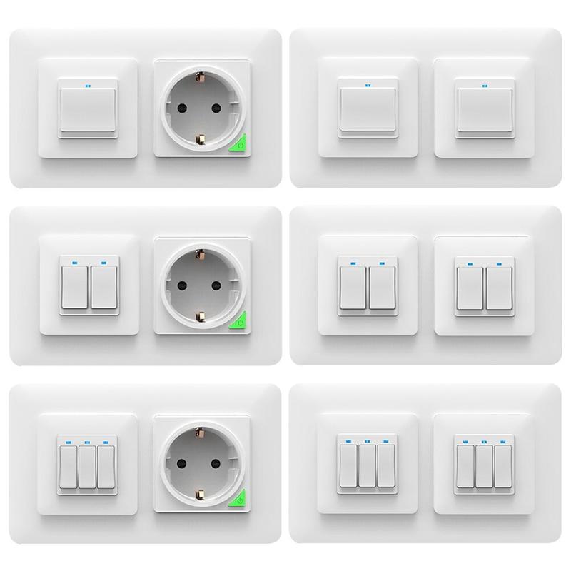 2/3 agujeros de plástico tapa para interruptor de pared caja de enchufe de luz de pared Panel timbre para niños dormitorio baño cocina Decoración