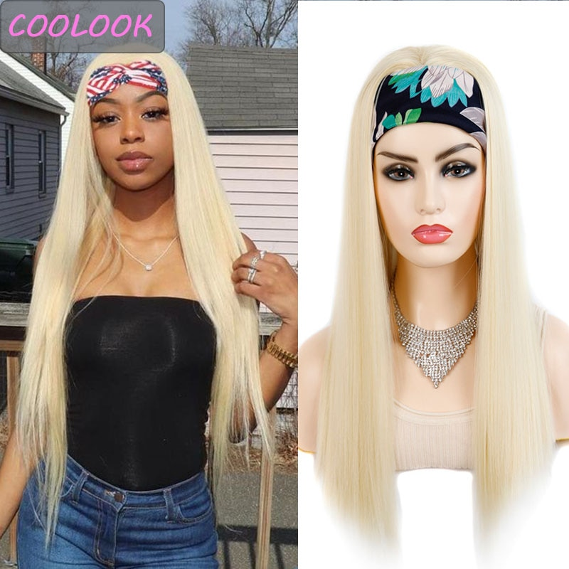 613 Blonde Headband Wig Honey Blonde Straight Headwrap Wig African American Headscarf Wig Natural Synthetic Fibre Peruca Cosplay
