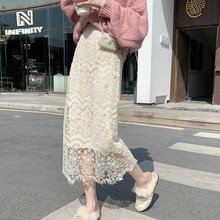 Deivor elastic waist hollow lace skirt women's medium length A-line mesh skirt sweet lady thin