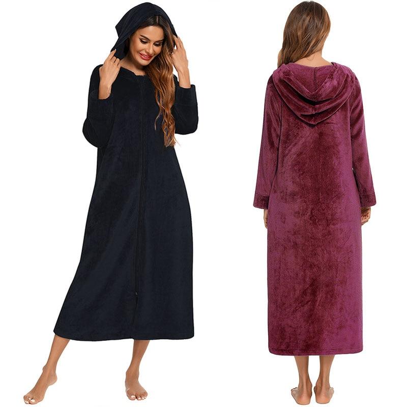 رداء نسائي من الفلانيل ملابس نوم شتوية دافئة جيب ملابس نوم مريحة فستان نوم طويل بقلنسوة للسيدات ملابس منزلية للنساء