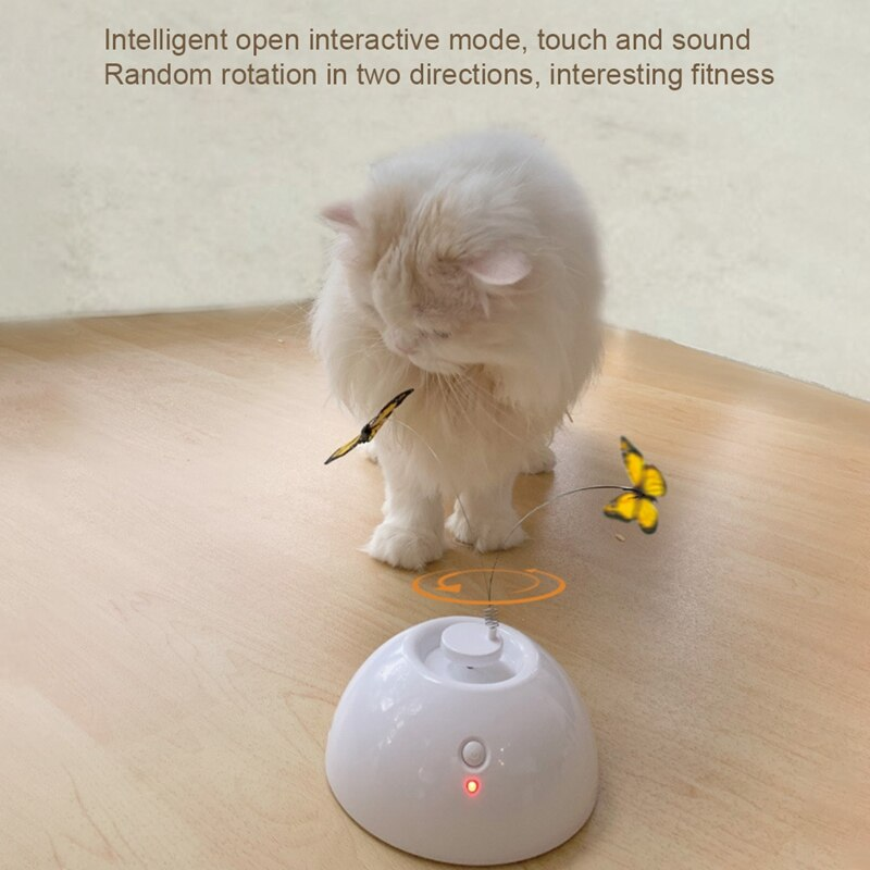 Gato eléctrico pequeño gato mariposa placa giratoria palo de gato auto Hi juguete inteligente en espera (productos no distribuyen baterías)