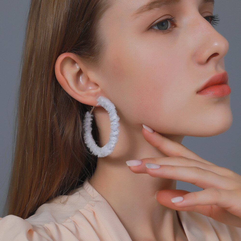 Nouveau grand velours boucles doreilles pour les femmes à la main déclaration boucle boucles doreilles bijoux