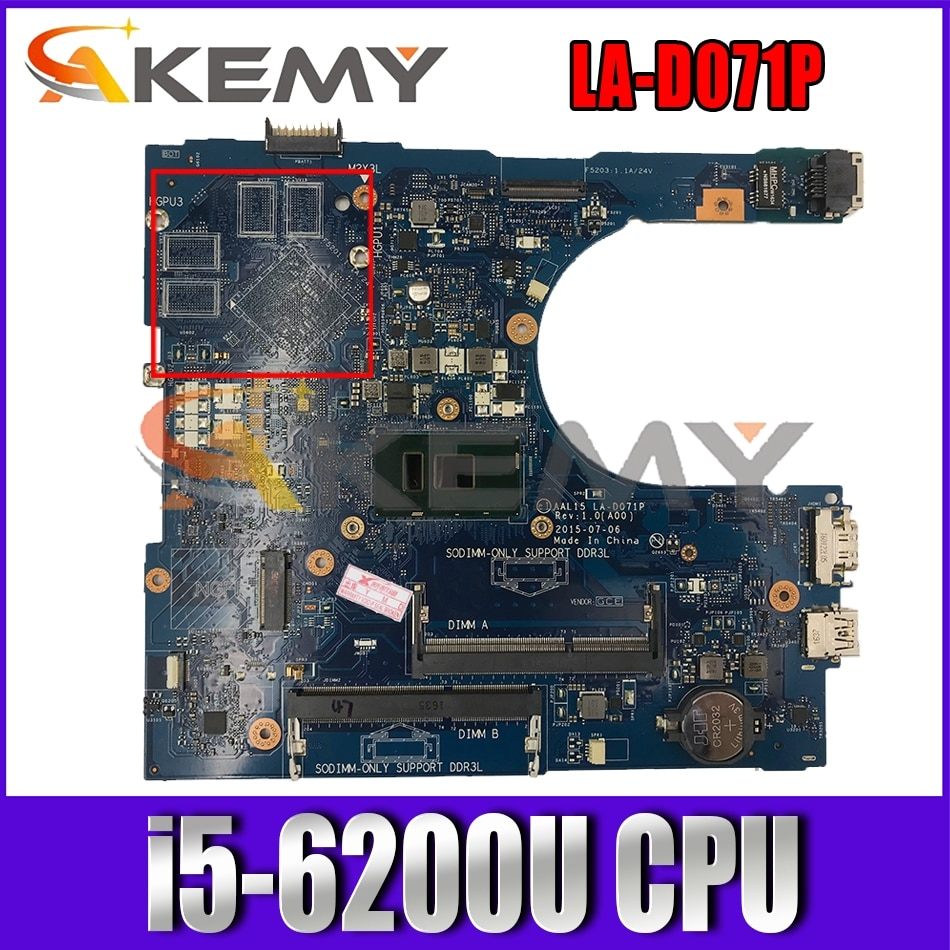 AAL15 LA-D071P MB لديل 15-5559 17-5759 14-5459 اللوحة المحمول مع i5-6200U CN-0FV59D 0VYVP1 03JXDM 100% اختبار بالكامل