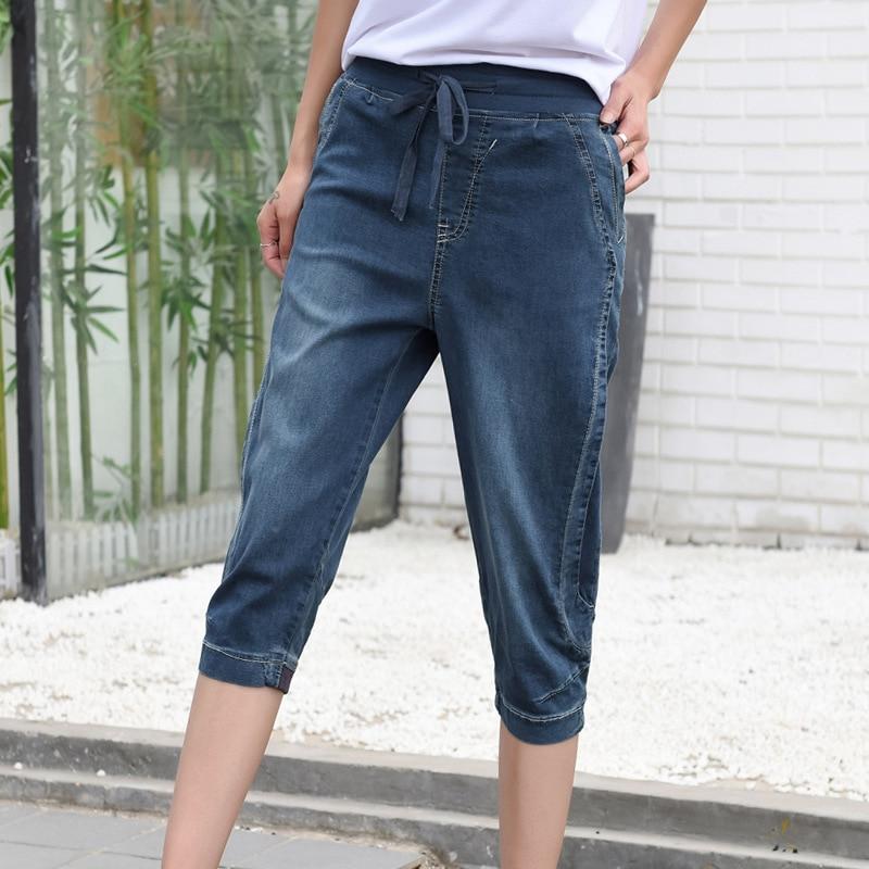 Boyfriend For Women Jeans Mujer nueva moda 2020 tamaño grande suelta Capri alta cintura Jeans Casual azul Harem Denim Pants Femme