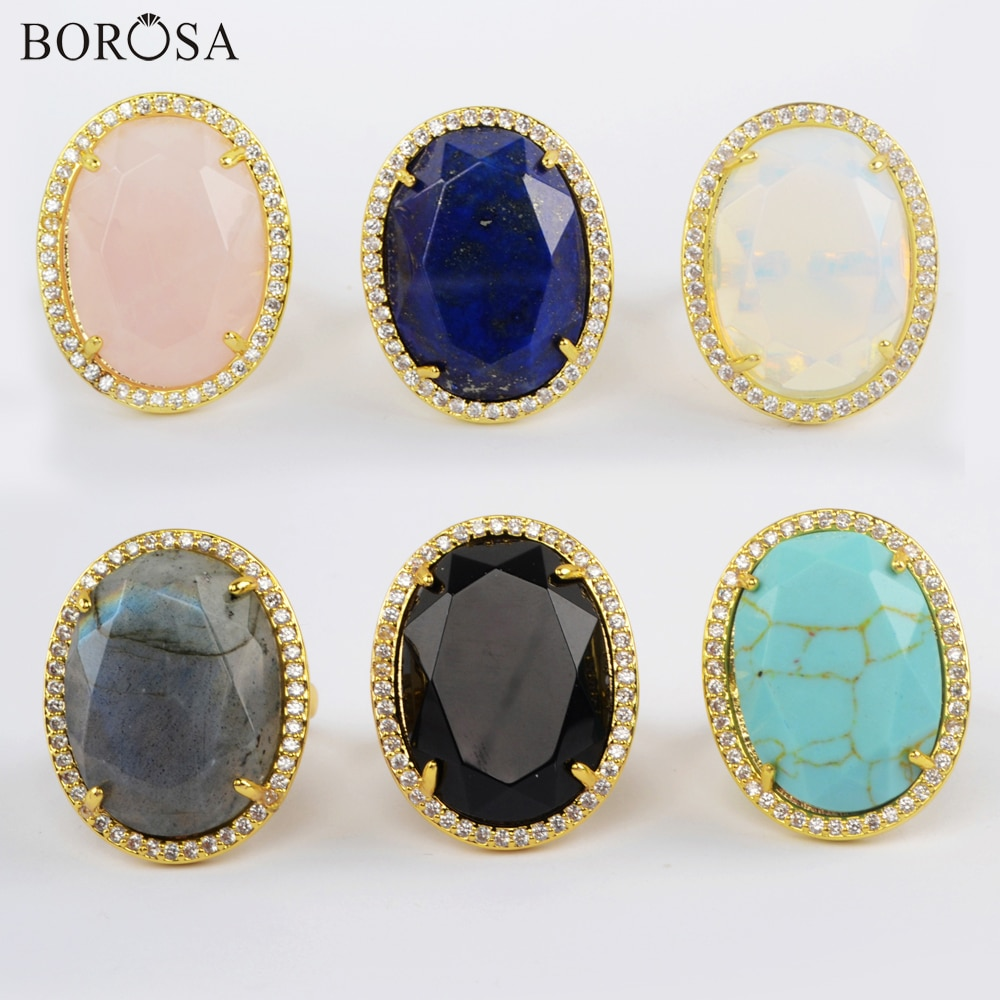 10 Uds. Anillo labradorita lapislázuli con bisel de oro, anillo de piedra Natural Multi-kind, anillos grandes para mujer, anillos de joyería WX1333