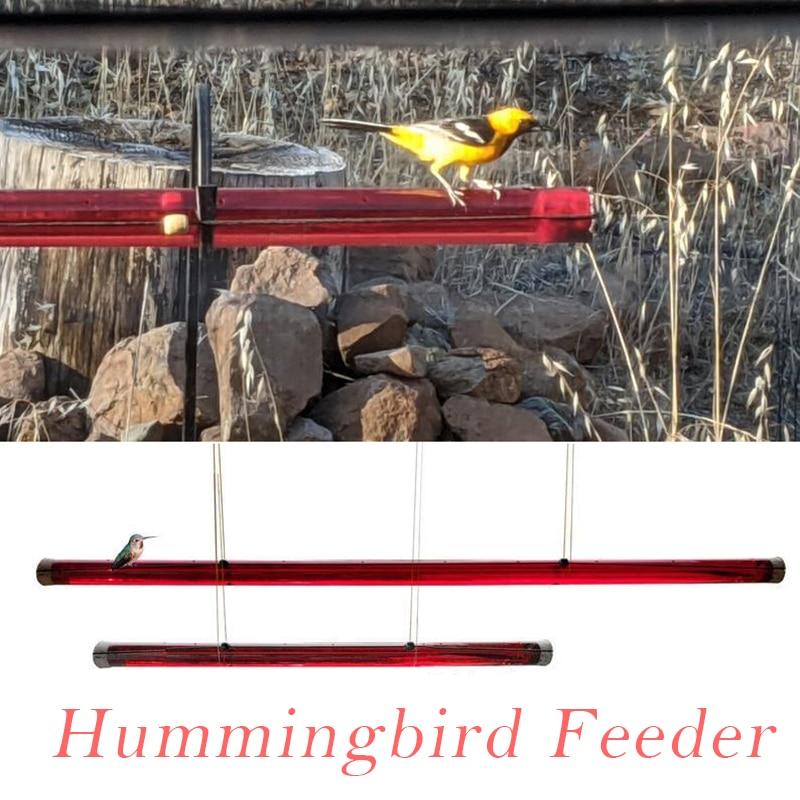 Decoración de patio jardín colibrí alimentador con agujero aves alimentación transparente tubo...