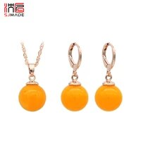 sjmade japanese korean round beeswax 585 rose gold dangle earrings jewelry set for women girl 2019 fashion wedding party jewelry