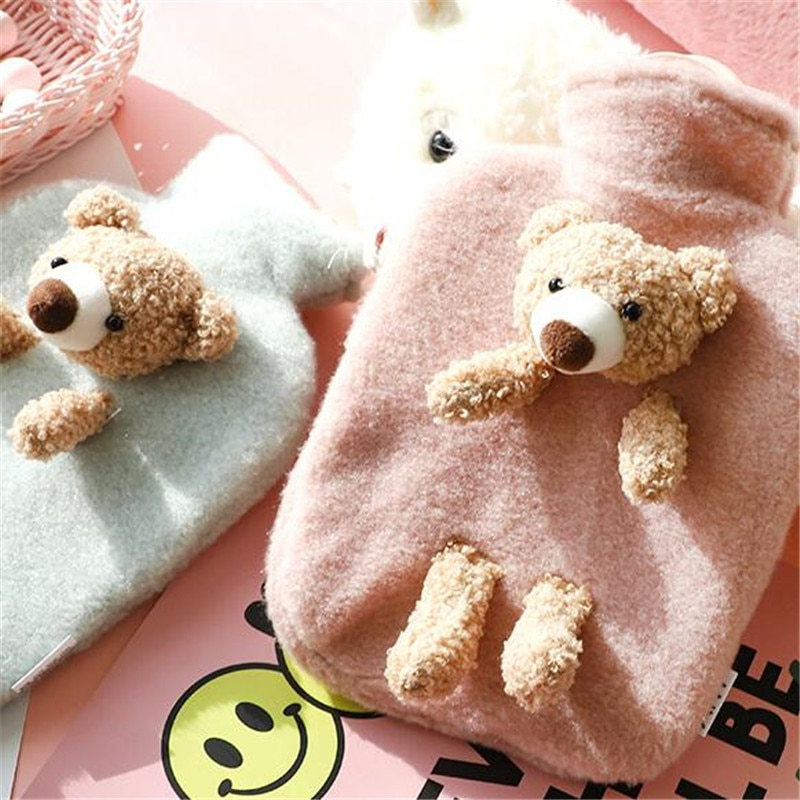 1000ml Classic Rubber Multi Hot Water Bottle and Luxurious Faux Plush Bear Fleece Cover Outdoor Tools Camping Hiking Hand Warm enlarge