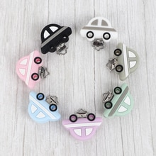 Mini attache-tétine en Silicone 10 pièces   Clip de sucette en forme de voiture, perle pour bébé, anneau de dentition, accessoires Clip mamelon fermoirs jouet bricolage perle