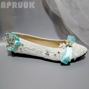 Fashion sweet design bow bowtie flats shoes plus size for woman light green color summer spring crystal white lace shoes womens