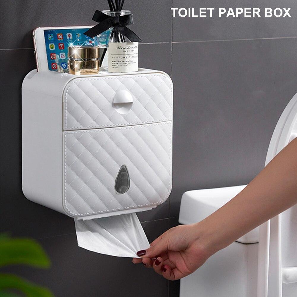 Suporte de papel higiênico à prova dwaterproof água wall mounted suporte de rolo de papel caso suporte de toalha de papel prateleira tubo caixa de armazenamento acessórios do banheiro