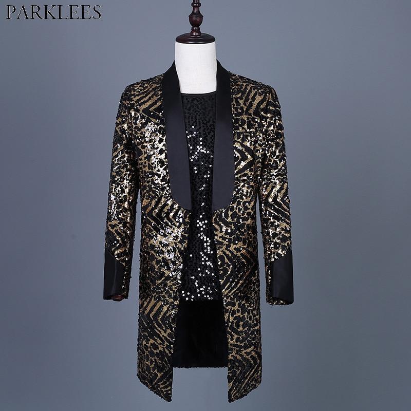 سترة رجالية مطرزة بطبعة جلد الفهد ، بدلة طويلة لامعة ، معطف حفلة مغنية رقص ، ياقة شال ، مقاس 3xl