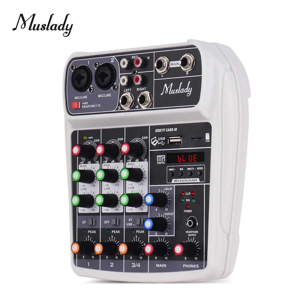Muslady AI-4 Compact Sound Card Mixing Console Digital Audio Mixer BT MP3 USB Input +48V Phantom Power for Music Recording
