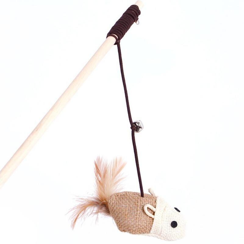Nueva mascota juguetes para gatos graciosos palo de madera pendientes ratón de bola con pluma campana gato de juegos cuerda elástico juguetes 1 Uds