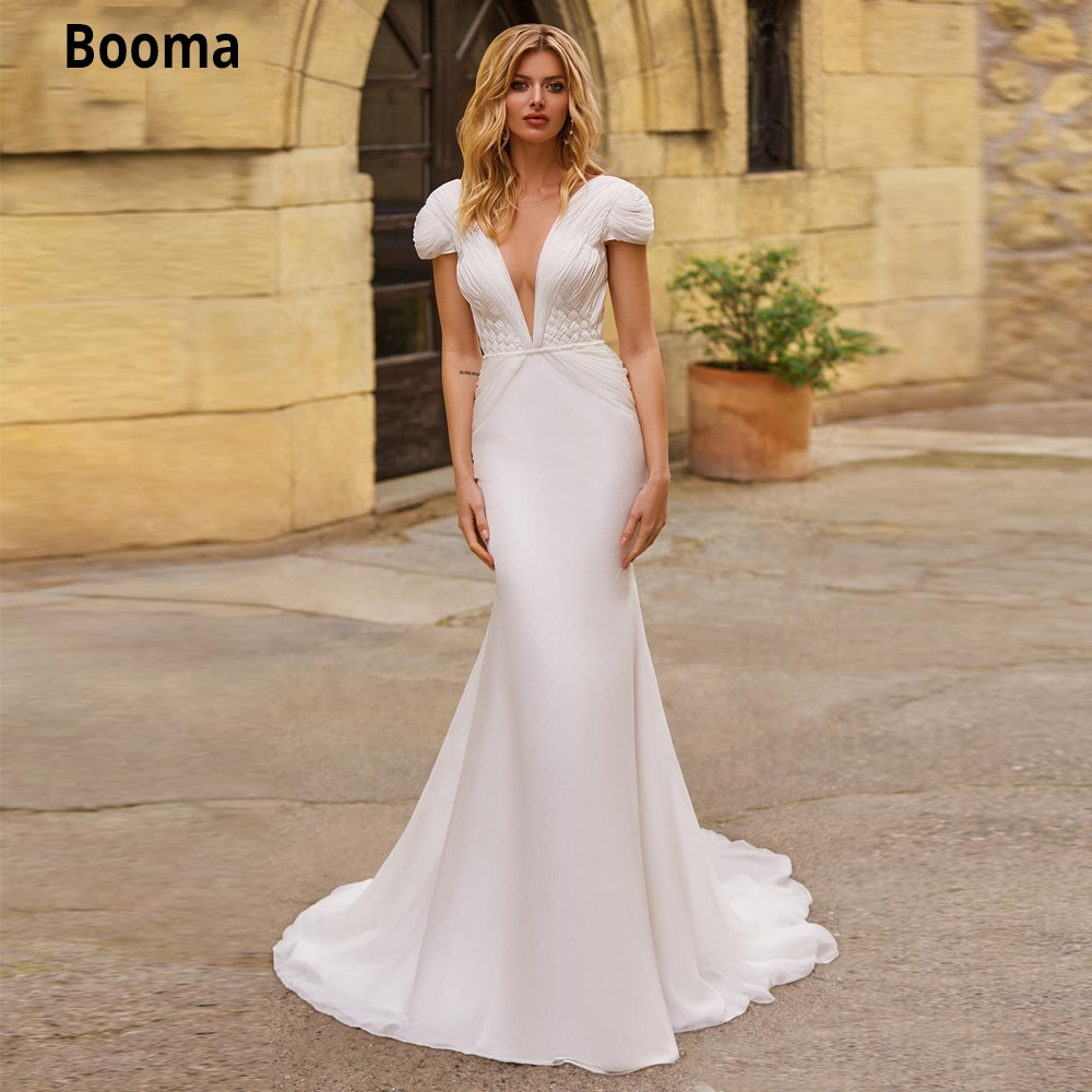 Booma Chiffon Mermaid Wedding Dresses with Cap Sleeve Beach Boho Bridal Gowns Sweep Train V-neck Backless Princess Party Dress