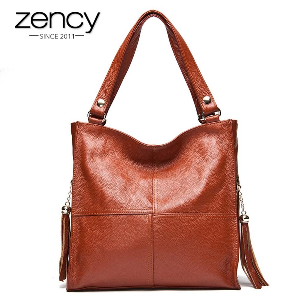 Zency tassel bolsa feminina 100% couro genuíno bolsa de ombro moda feminina crossbody messenger bolsa branco hobos satchel