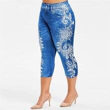 Printed False Denim Short Leggings 34 Women Jeans Leggings High Waist Breeches Capri Pants Super Elastic Jeggings Plus Size 2XL