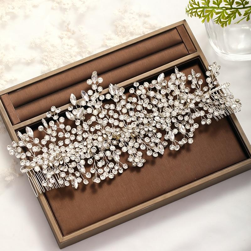 DE BODA Tiara de la boda barroco de cristal tocado de Color plata de diamantes de imitación peine del pelo joyería nupcial pelo Ms accesorios de la boda