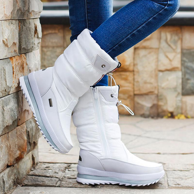 Women snow boots platform shoes woman winter boots thick plush waterproof non-slip mid-calf boots women winter shoes botas mujer snow boots women shoes 2020 warm plush waterproof casual shoes woman mid calf winter platform shoes women boots zapatos de mujer