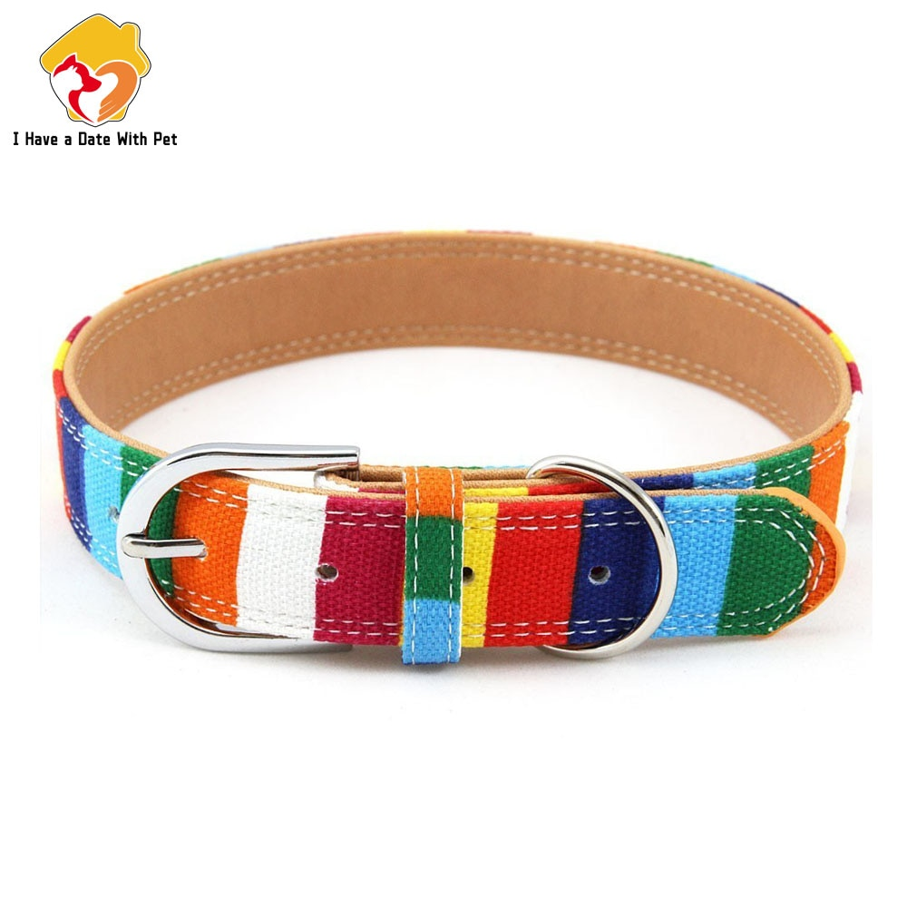 aliexpress.com - Pet Product Padded Big Dog Collar Personalized Canvas&Leather Puppy Cat Necklace for Small Medium Large Dog Chihuahua Collars