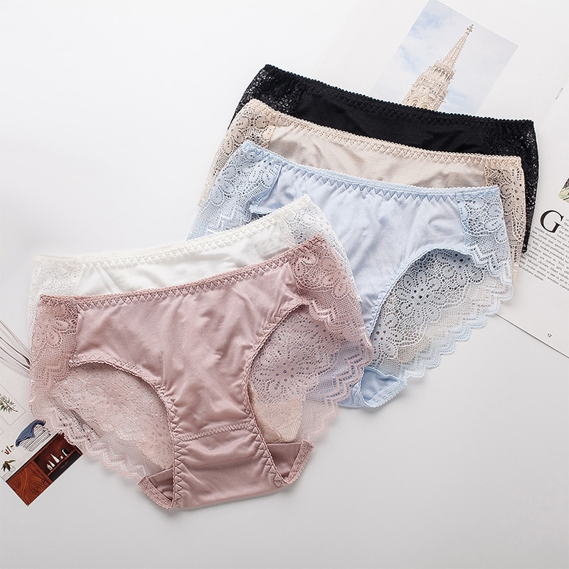 Lopnt New Women's Underwear Lace Edge Silk Panties Comfortable Breathable Briefs Sexy Mid-Waist Knickers