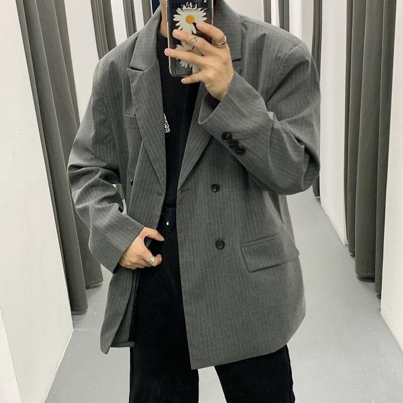 2020 primavera e no outono novo retro solto listrado terno moda negócios casual duplo breasted casaco preto/cinza M-XL