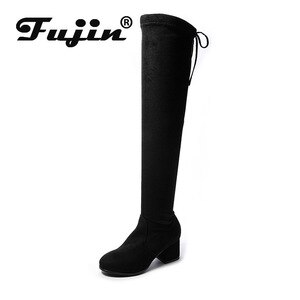 Fujin Women's Over The Knee Boots 2021 New Autumn  Winter Chunky Heel Widening Increase Slip Fashion Breathable Women Boots