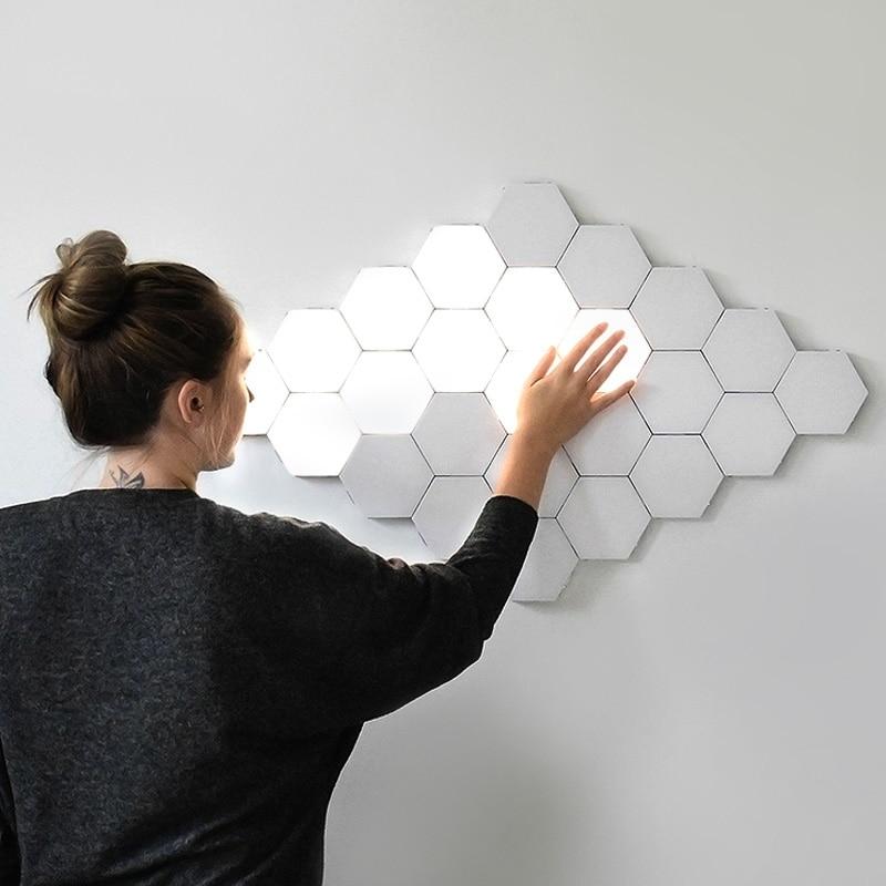 Modern LED Night Light Quantum Lamp Modular Sensitive Honeycomb Touch Wall Lamp Decor Bedroom Bedside Magnetic Gift Lighting