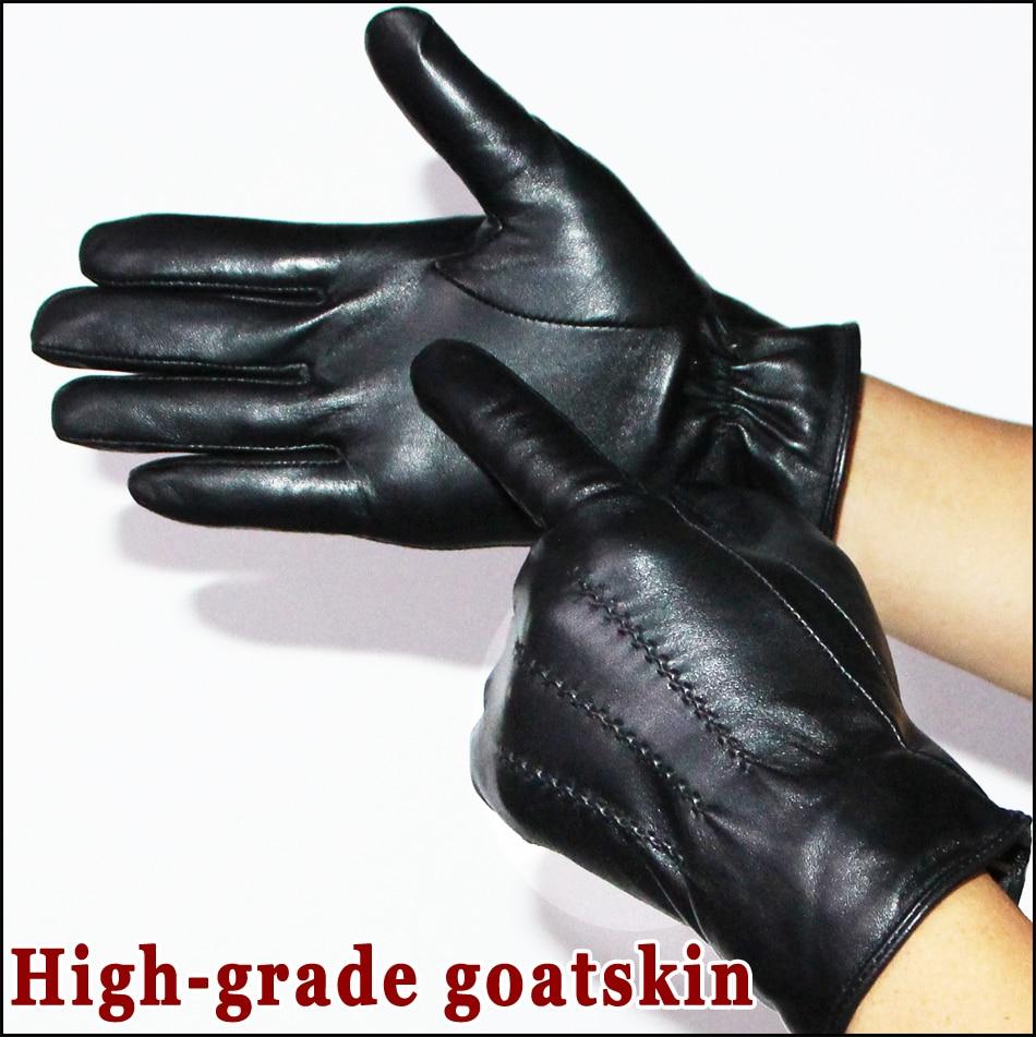 Кожаные перчатки мужские высококачественные перчатки из козьей кожи осень и зима уличные теплые перчатки из бархатной овчины перчатки для ...