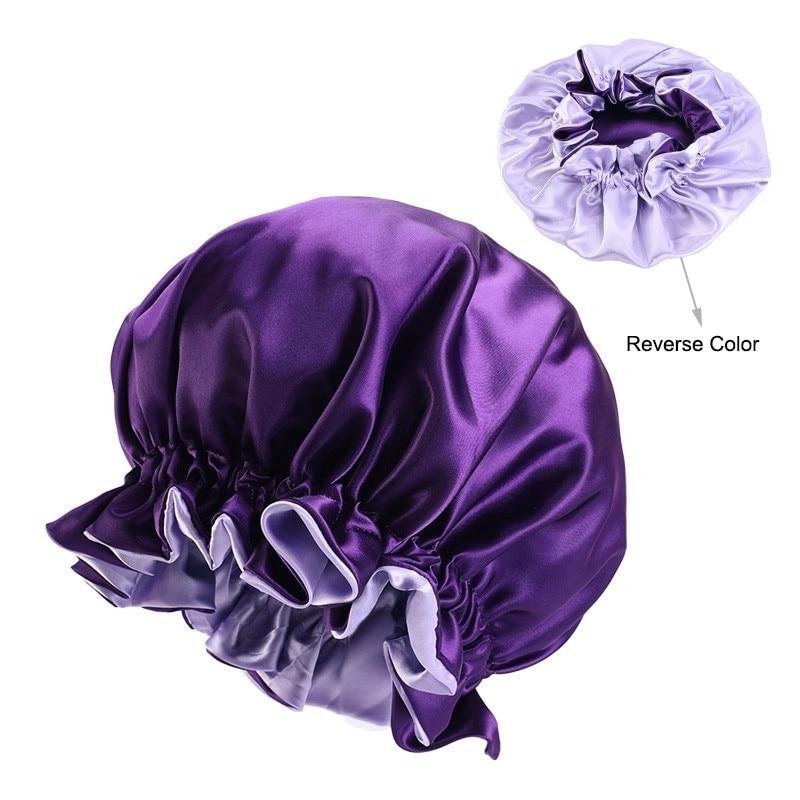 Gorro de satén Reversible ajustable, gorros para el pelo, capa doble, tapa para dormir, tapa para la cabeza, sombrero, accesorios de primavera rizados, cabello estilizado